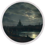 View Of Dresden By Moonlight Round Beach Towel