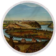 View Of Fort Snelling Round Beach Towel