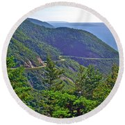 View Of Highlands Road From Skyline Trail In Cape Breton Highlands Np-ns Round Beach Towel