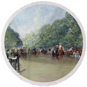 View Of Hyde Park With Figures On Rotten Row  Round Beach Towel by Albert Jnr Ludovici