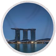 View Of Marina Bay Sands Hotel Round Beach Towel