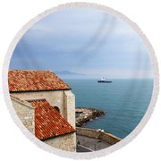 View Of Mediterranean In Antibes France Round Beach Towel
