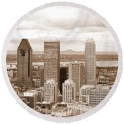 View Of Montreal In Sepia Round Beach Towel