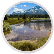 View Of Mount Tallac From Taylor Creek Beach Lake Tahoe Round Beach Towel