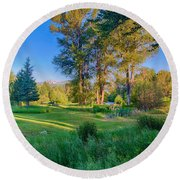 View Of Mt Gardner From Cottonwood Cottage Round Beach Towel