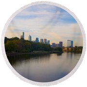 View Of Philadelphia From The Girard Avenue Bridge Round Beach Towel by Bill Cannon