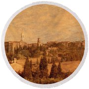 View Of Pienza And The Tuscan Landscape Round Beach Towel