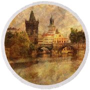 View Of Prague Round Beach Towel