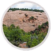 View Of Rock Dome Surface From Sandal Trail Across The Canyon In Navajo National Monument-arizona Round Beach Towel