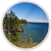 View Of Rock Harbor And Lake Superior Isle Royale National Park Round Beach Towel by Jason O Watson