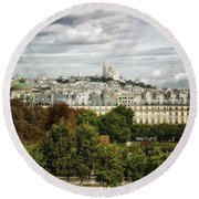 View Of Sacre Coeur From The Musee D'orsay Round Beach Towel