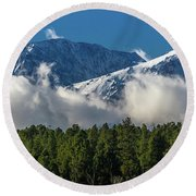 View Of San Juan Mountains With Clouds Round Beach Towel