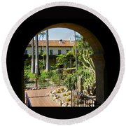 View Of Santa Barbara Mission Courtyard Round Beach Towel