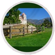 View Of Santa Barbara Mission Round Beach Towel
