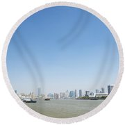 View Of Shanghai River In China Round Beach Towel