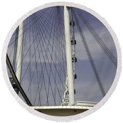 View Of Spokes Of The Singapore Flyer Along With The Base Section Round Beach Towel