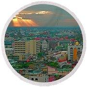 View Of Sun Setting Over Bangkok Buildings From Grand China Princess Hotel In Bangkok-thailand Round Beach Towel