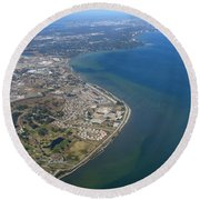 View Of Tampa Harbor Before Landing Round Beach Towel
