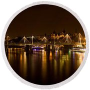 View Of Thames River From Waterloo Round Beach Towel