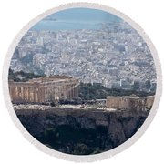 View Of The Acropolis From Lykavittos Hill Round Beach Towel