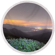 View Of The Appalachians From Craggy Pinnacle Near The Blue Ridg Round Beach Towel