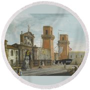 View Of The Arsenale. Venice Round Beach Towel
