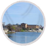 View Of The Art Museum And Waterworks In Philadelphia Round Beach Towel