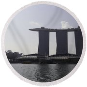 View Of The Artscience Museum And The Marina Bay Sands Resort Round Beach Towel