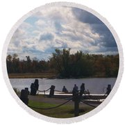 View Of The Creek From Catskill Point Round Beach Towel