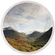 View Of The Glencoe Mountains Round Beach Towel