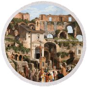 View Of The Interior Of The Colosseum Round Beach Towel