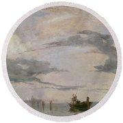 View Of The Lagoon Near Venice, 1826  Round Beach Towel