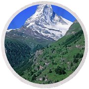 View Of The Matterhorn And The Town Round Beach Towel