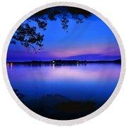 View Of The Night Lake Round Beach Towel