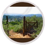 View Of The Ojai Valley Round Beach Towel