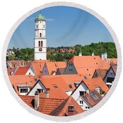 View Of The Old Town With St. Martins Round Beach Towel