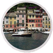 View Of The Portofino, Liguria, Italy Round Beach Towel