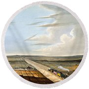 View Of The Railway Across Chat Moss Round Beach Towel