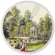 View Of The Temple Of Diana At Erlaw Round Beach Towel