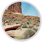 View Of Three Gossips In Arches Np-ut  Round Beach Towel