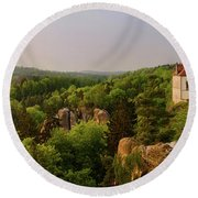 View Of Trosky Castle In A Village Round Beach Towel