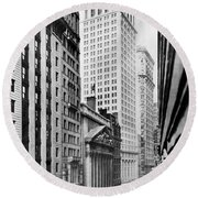 View Of Wall Street Round Beach Towel
