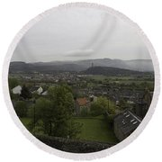 View Of Wallace Monument And Houses And Surrounding Areas Round Beach Towel