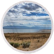 View Of Wasatch Range From Antelope Island Round Beach Towel
