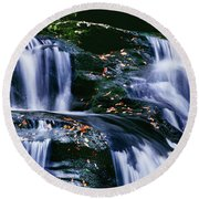 View Of Waterfall, Inversnaid Falls Round Beach Towel