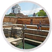 View Of White Temple From Pool Area Behind Bhaktapur Durbar Square In Bhaktapur-nepal - Round Beach Towel