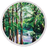 View Of Woodside Lake Round Beach Towel