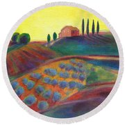 View On The Olive Grove Round Beach Towel