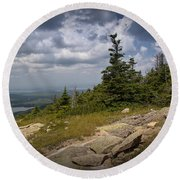 View On Top Of Cadilac Mountain In Acadia National Park Round Beach Towel