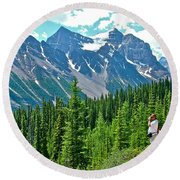 View On Trail To Lake Agnes In Banff Np-alberta Round Beach Towel